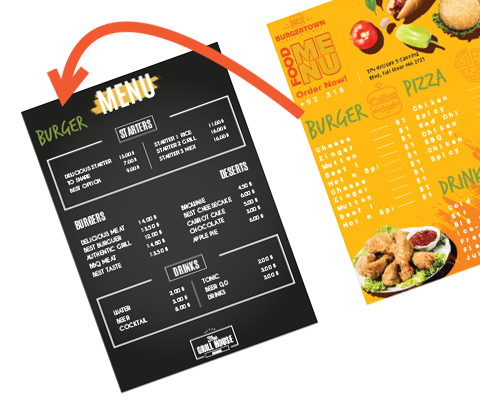 MG Print Customizable single-use placemat menu